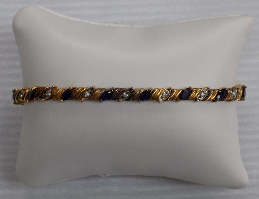 925 Silver & gold plated sapphire & diamond tennis bracelet 7 inches long