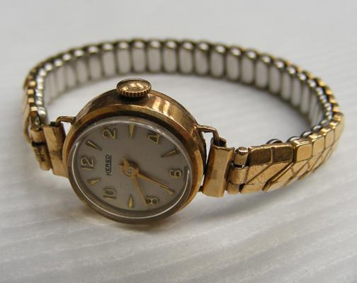 Kered ladies wrist watch 9ct gold case with rolled gold strap