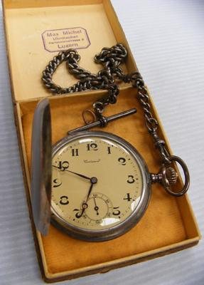 Sterling silver fob (approx 34.8g) 800 silver croissant pocket watch