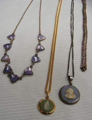 4x Necklaces inc silver & Wedgwood