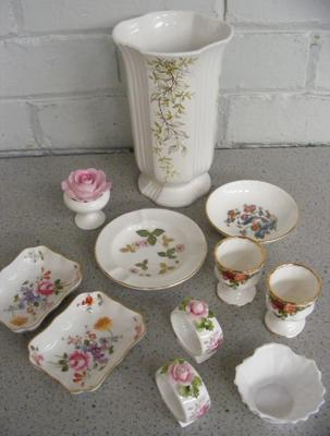 Assortment of named pottery inc Wedgwood, Royal Albert, Minton, Spode, Royal Crown Derby