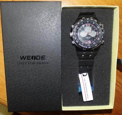 Weide watch red number face
