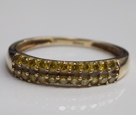 9ct Gold citreen 1/2 eternity ring size R