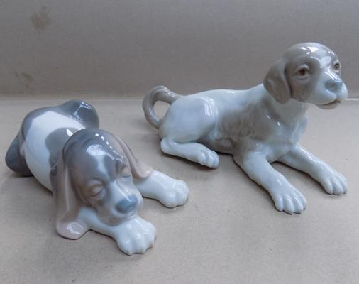 Lladro laying puppy & Nao puppy-no damage found