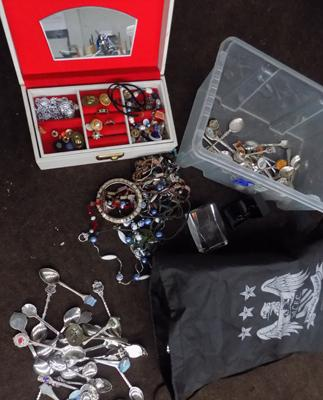 Box of costume jewellery, incl. souvenir spoons - some silver