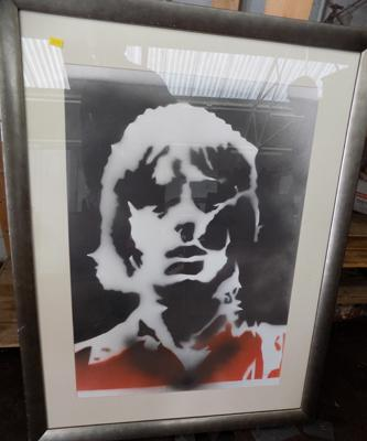 Framed print of Paul Weller approx 28 x 36 inches with  signature