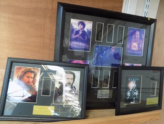 Large Lord of the Rings character film cell, incl. montage poster & 2 smaller posters