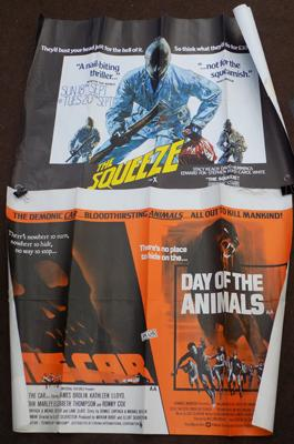 Rare original 1970's horror film posters-The Squeeze & Day of the Animals/cars