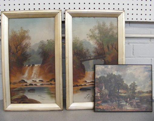 3 framed pictures - 2 paint on wood, signed