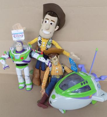4 x Toy Story toys, Large Woody Disney store/Woody/Buzz/spaceship