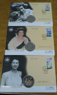 Three first day cover coin sets
