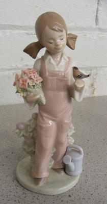 Lladro girl in pink dungarees
