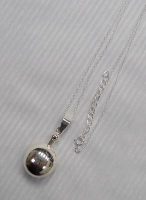 Silver scent bottle on silver chain