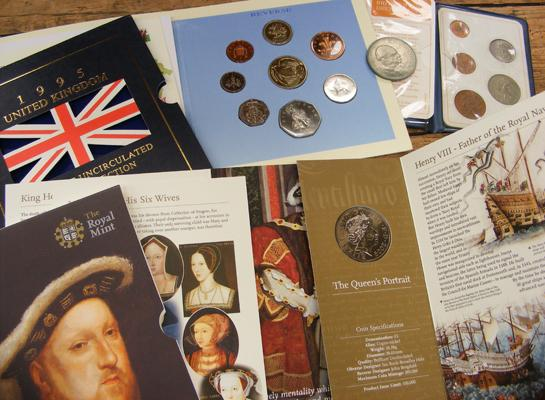 Assortment of coins inc 1995 uncirculated coin collection & Henry VIII uncirculated