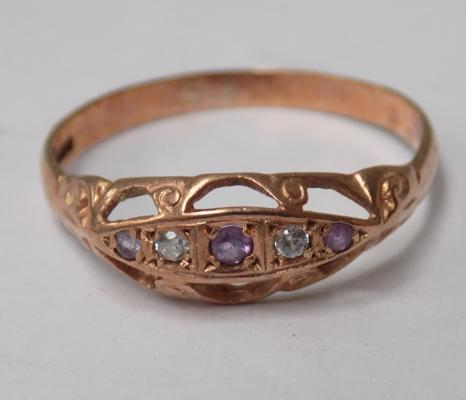 9ct Rose gold amethyst & white stone boat ring-antique size R1/2