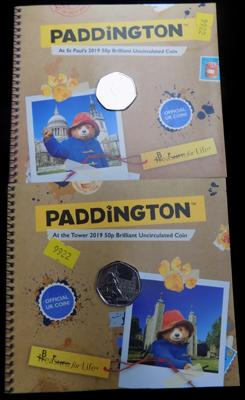 Set of new Paddington, uncirculated 50p pieces, St Paul's & Tower in Royal Mint holders