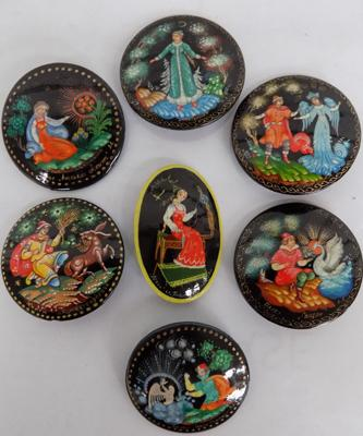 Assortment of Russian Fairytale/Legend wooden brooches