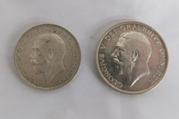 1918 George V - half Crown + florin coins, 2 x late 1700s