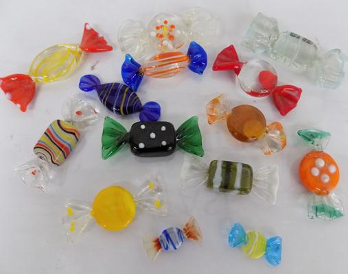 Assortment of glass sweet decorations