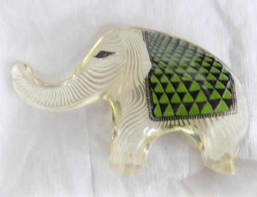 Abraham Palatnik small lucite elephant, made in Brazil label