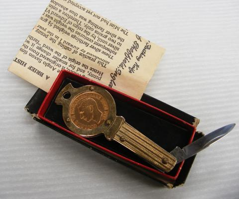 Genuine lucky farthing pen knife with full history & box, by Richards of Sheffield