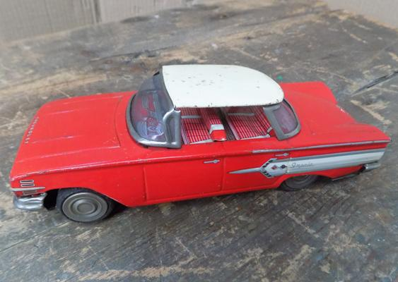 Vintage 1960's Iciko Bandai, Japan, tinplate friction driven car, 8.5 inches
