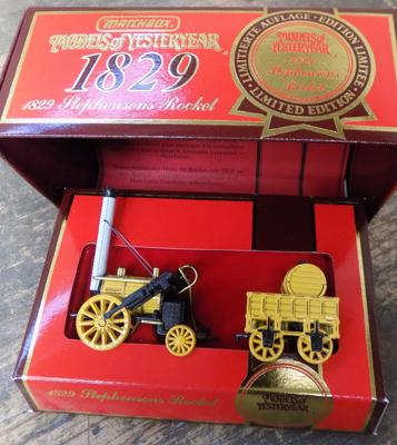 Matchbox limited edition 1829 Stephenson rocket with certificate