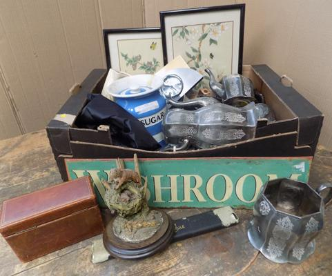 Box of vintage collectables, pewter, Cornishware, T.G. Green, sugar barrel, tinplate sign, Wade etc...