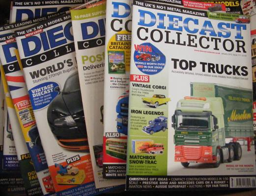 Box of diecast collector magazines