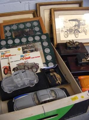 Assortment of vintage car collector's items