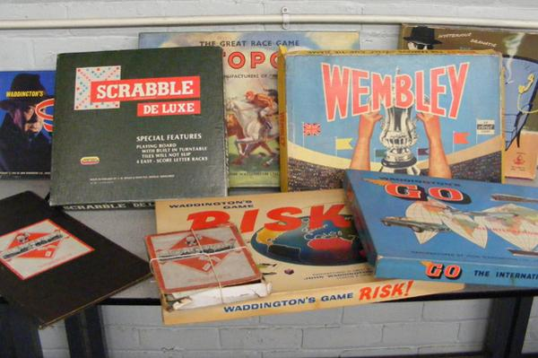 Box of vintage games inc Wembley FA Cup tie game