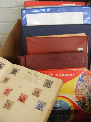 Box of stamp albums (4) & folders (4) + Stanley Gibbons, unused & boxed stamp album