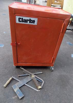 Metal Clarke's tool cabinet, incl. some tools
