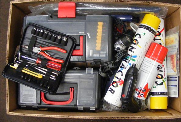 Box of mixed tools, tool boxes & spray paint