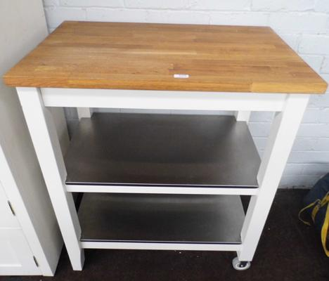 Solid wood + stainless steel kitchen trolley