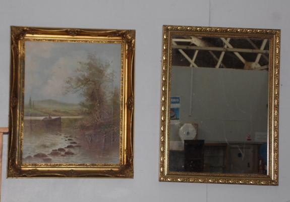 Vintage framed mirror & oil canvas by F. Bennett