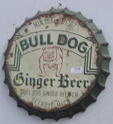 14 inch tin plate ginger beer, advertising sign