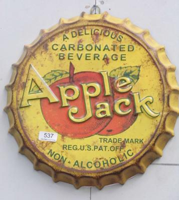 14 inch tin plate Apple Jack advertising sign