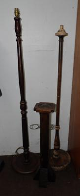 Two vintage oak coloured standard lamp stands & ashtray/pipe stand