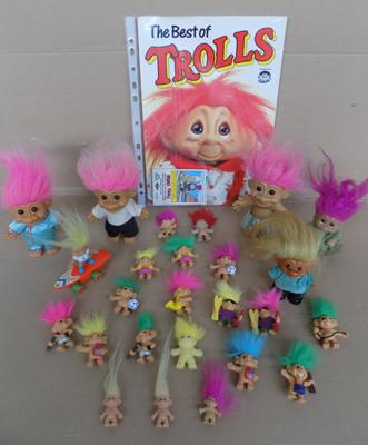 Vintage trolls 14x Weetos pencil toppers, 10x Dam/Russ/others + comic/cards