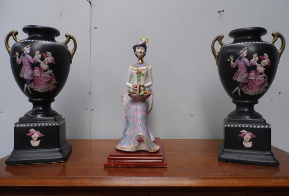 Pair of urns + seated lady figure
