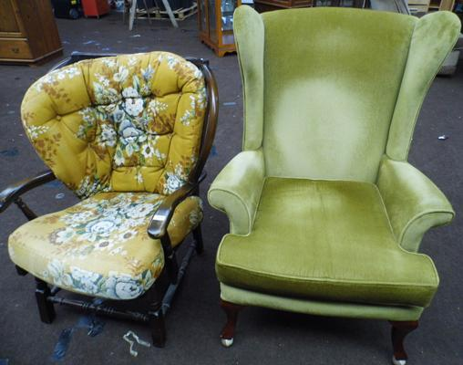 Wing back fireside chair & one other + foot stool