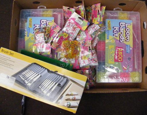 Large box of new Loom Bands & paint brush sets