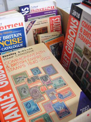 Box of stamp collector books