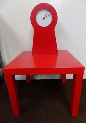 Large modern, battery operated clock & small matching table