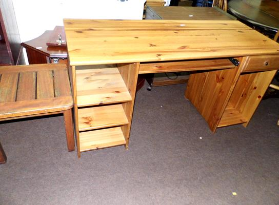 Pine computer desk + small table