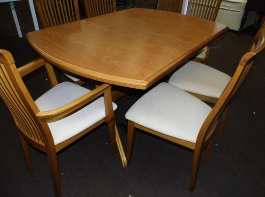 Solid teak dining table & six chairs