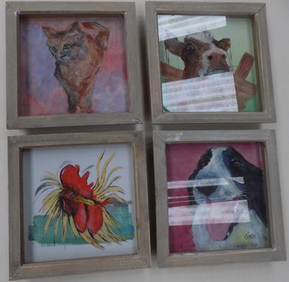 Set of four, 9 inch x 9 inch, acrylic paintings, framed & under glass
