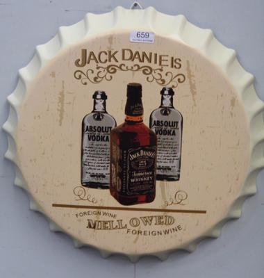 16 inch Jack Daniels advertising tin plate sign