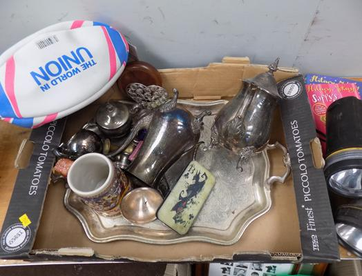 Mixed box of silver plate, torches etc...